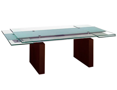 "Modern Glass Conference Table with Strong Wenge Legs (87 - 123"" W)"