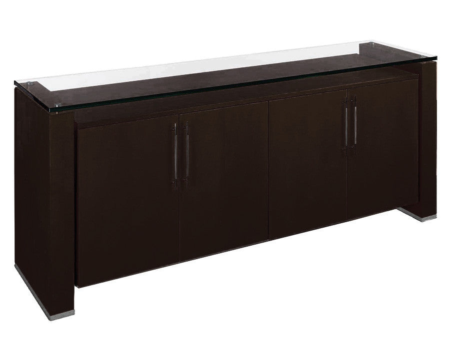 "80"" Modern Wenge & Chrome Storage Credenza with Glass Top"