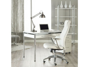 Crosby Modern White Leather High Back Office Chair