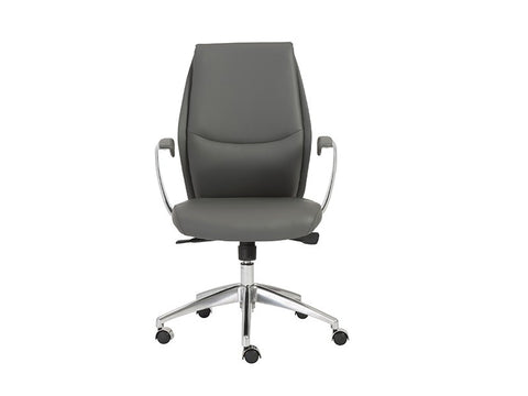 Crosby Modern Gray Office Chair with Polished Aluminum Accents