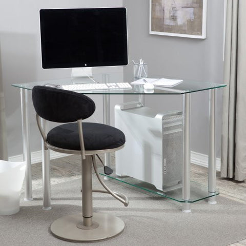 Modern Clear Glass Corner Computer Desk
