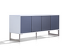 "Modern 71"" White Lacquer Storage Credenza with Mirrored Glass Doors"