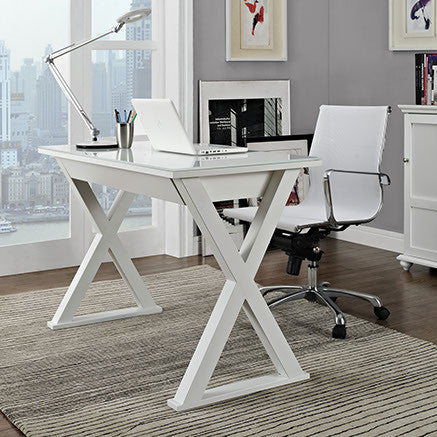 "48"" Modern White Steel X-Frame Desk with Drawer & Glass Top"