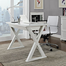 "Load image into Gallery viewer, 48"" Modern White Steel X-Frame Desk with Drawer & Glass Top"