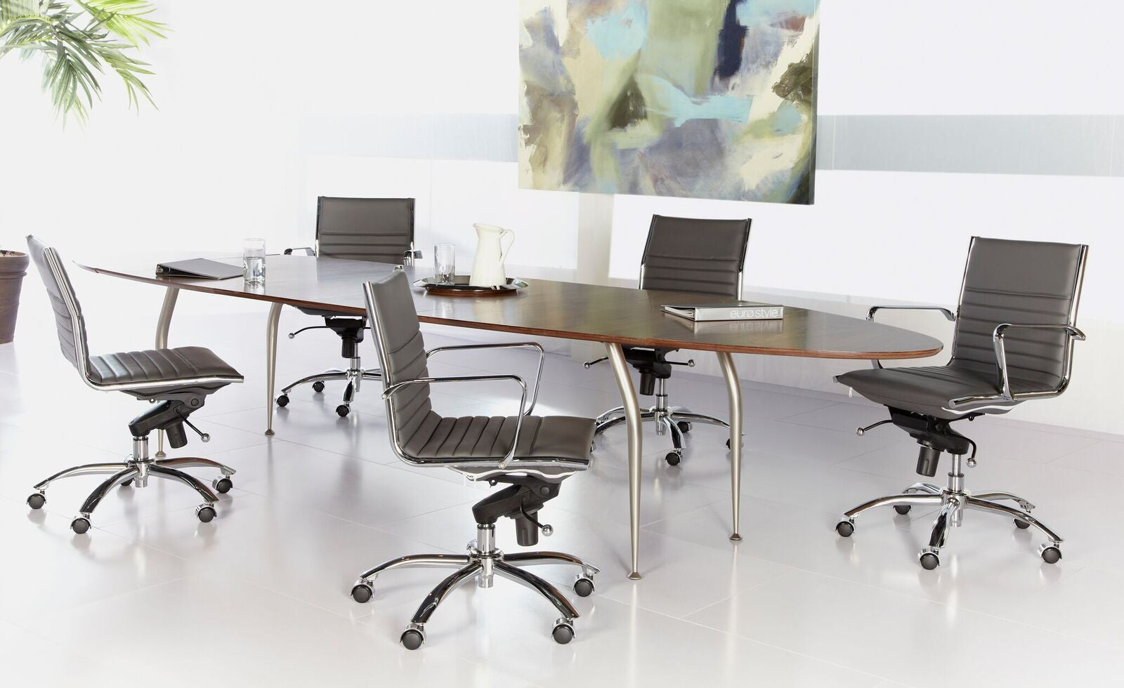 Walnut & Chrome Conference Table - Executive Desk Combination