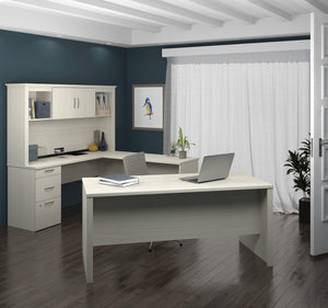 Modern Premium U-shaped Desk with Hutch in White Chocolate