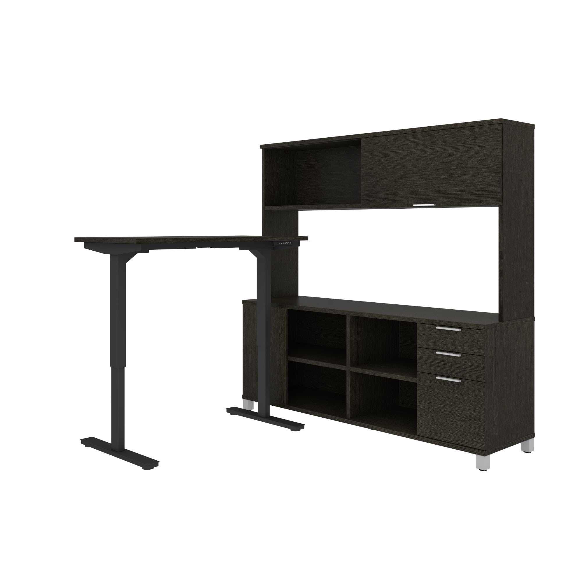 Premium Sit-Stand Desk with Credenza & Hutch in Deep Gray