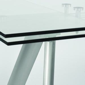 "71"" - 102"" Modern Glass & Stainless Steel Conference Table or Desk"