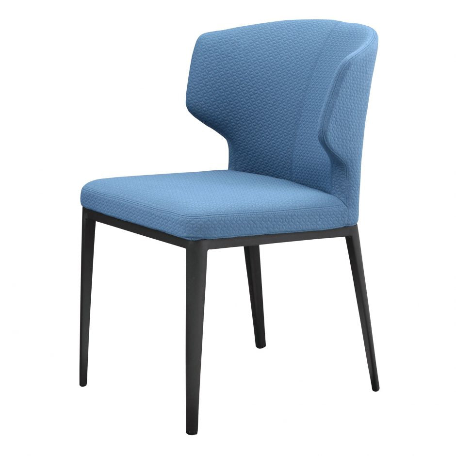 Stylish Blue Polyester Guest or Conference Chair with Steel Frame (Set of 2)