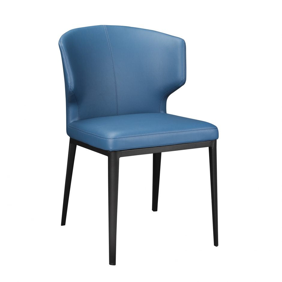 Stylish Steel Blue Polyester Guest or Conference Chair with Steel Frame (Set of 2)