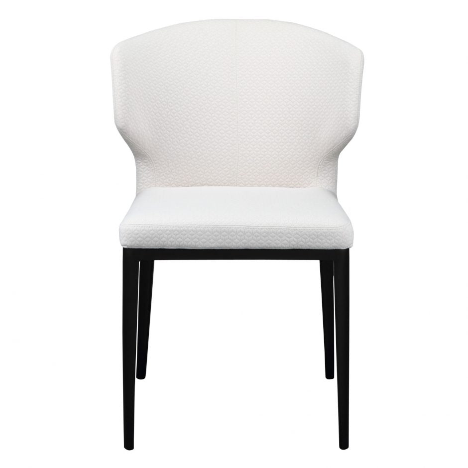 Stylish White Polyester Guest or Conference Chair with Steel Frame (Set of 2)