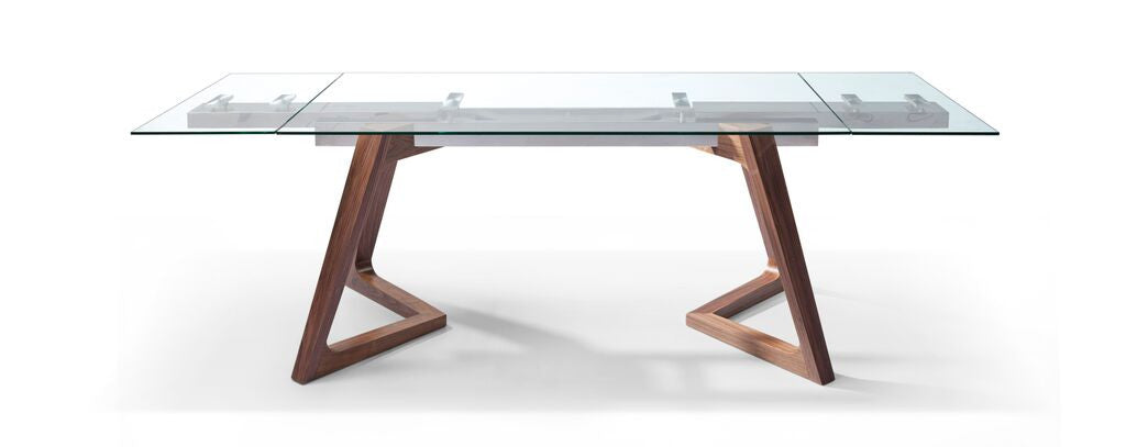 Premium Glass Desk or Conference Table with Solid Wood Legs (Extends from 63
