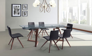 "Premium Glass Desk or Conference Table with Solid Wood Legs (Extends from 63"" W to 95"" W)"