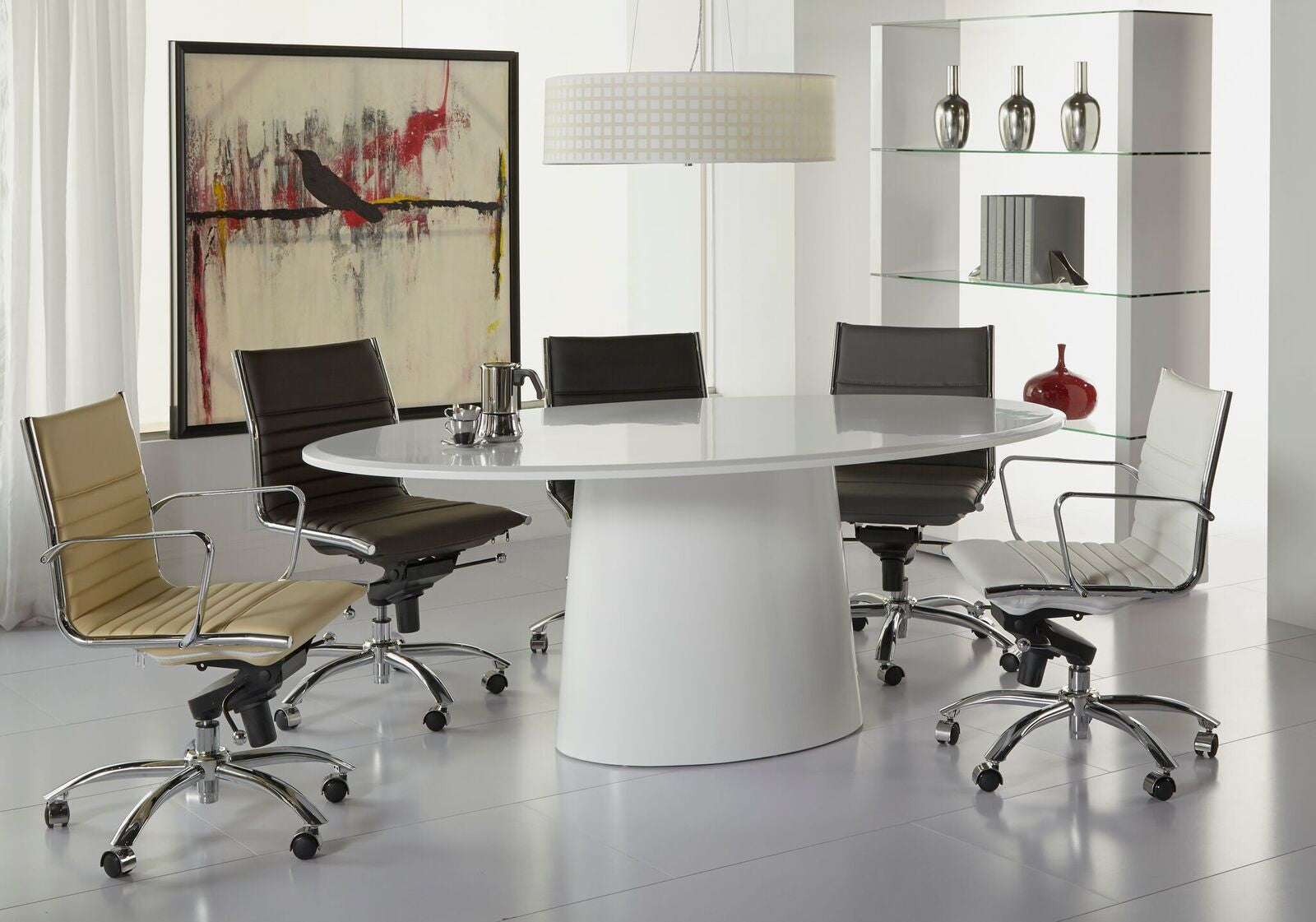 "Modern 79"" White Lacquer Conference Table or Executive Desk"
