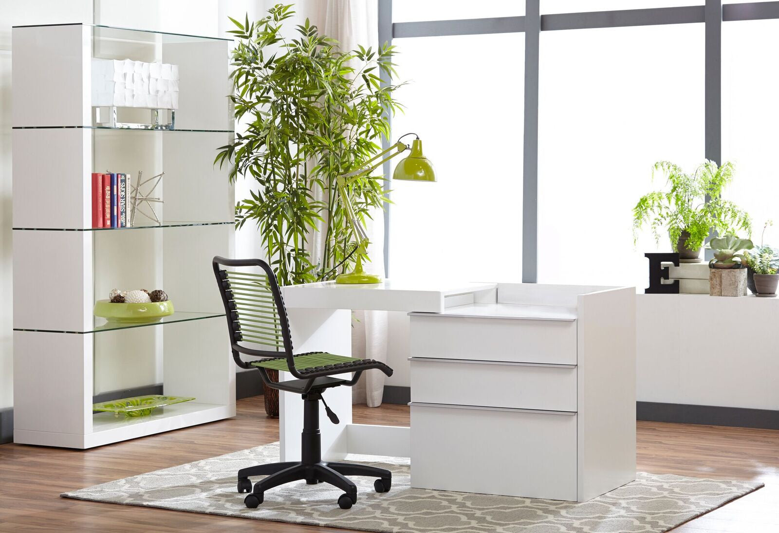 "Modern White 28"" - 50"" Convertible Desk / Storage Cabinet"