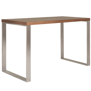 "Walnut & Brushed Stainless Steel 48"" Modern Desk"