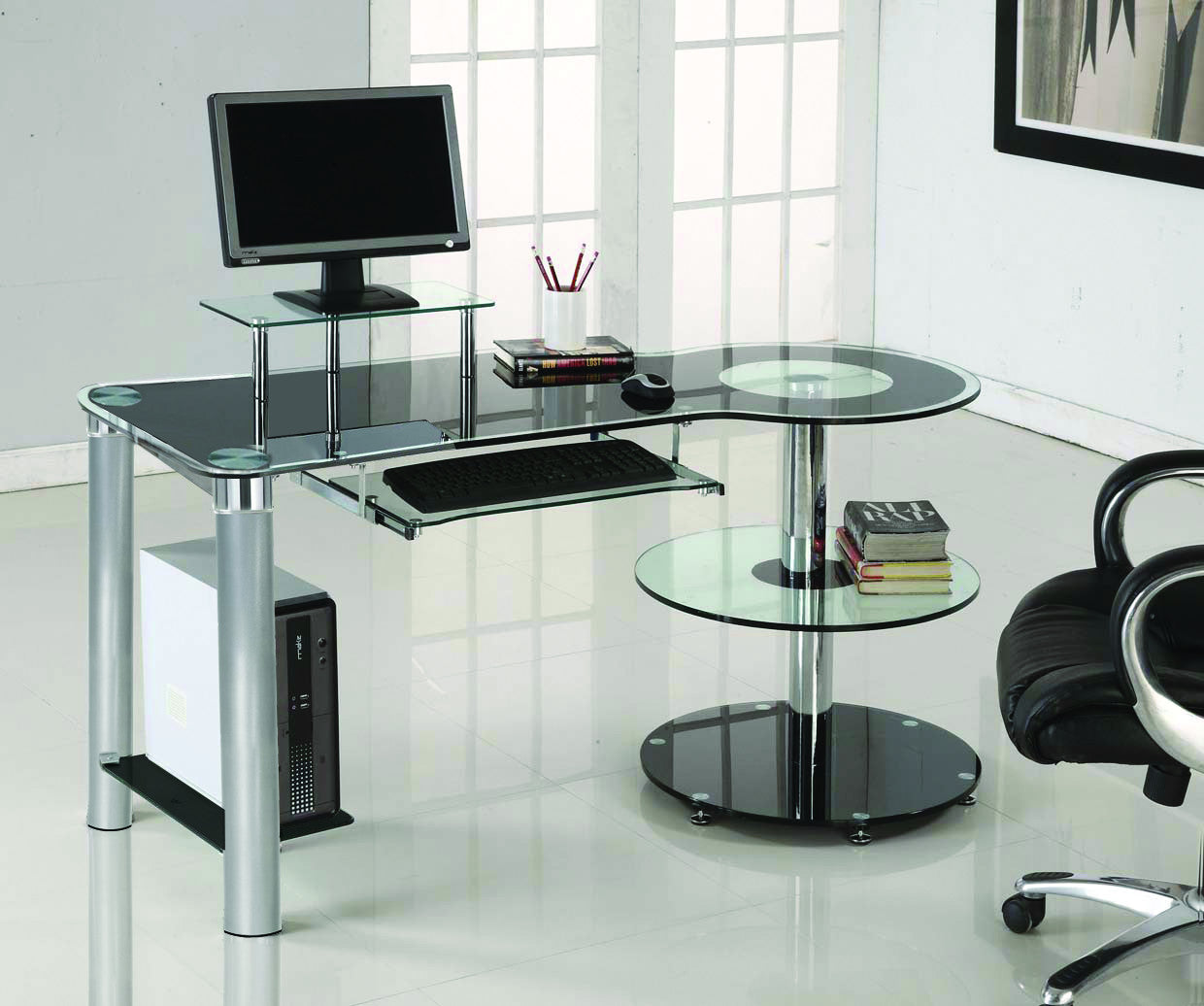 Modern Office Desk: Sleek Modern Black Glass & Chrome Executive Desk