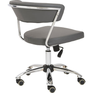 Gray Leather Low Back Modern Office Chair with Chrome Frame
