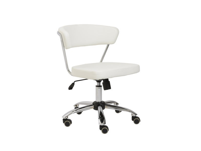 White Leather Low Back Modern Office Chair with Chrome Frame