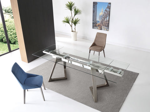 "Modern 63-95"" Glass Desk or Conference Table with Angled Gray Legs"