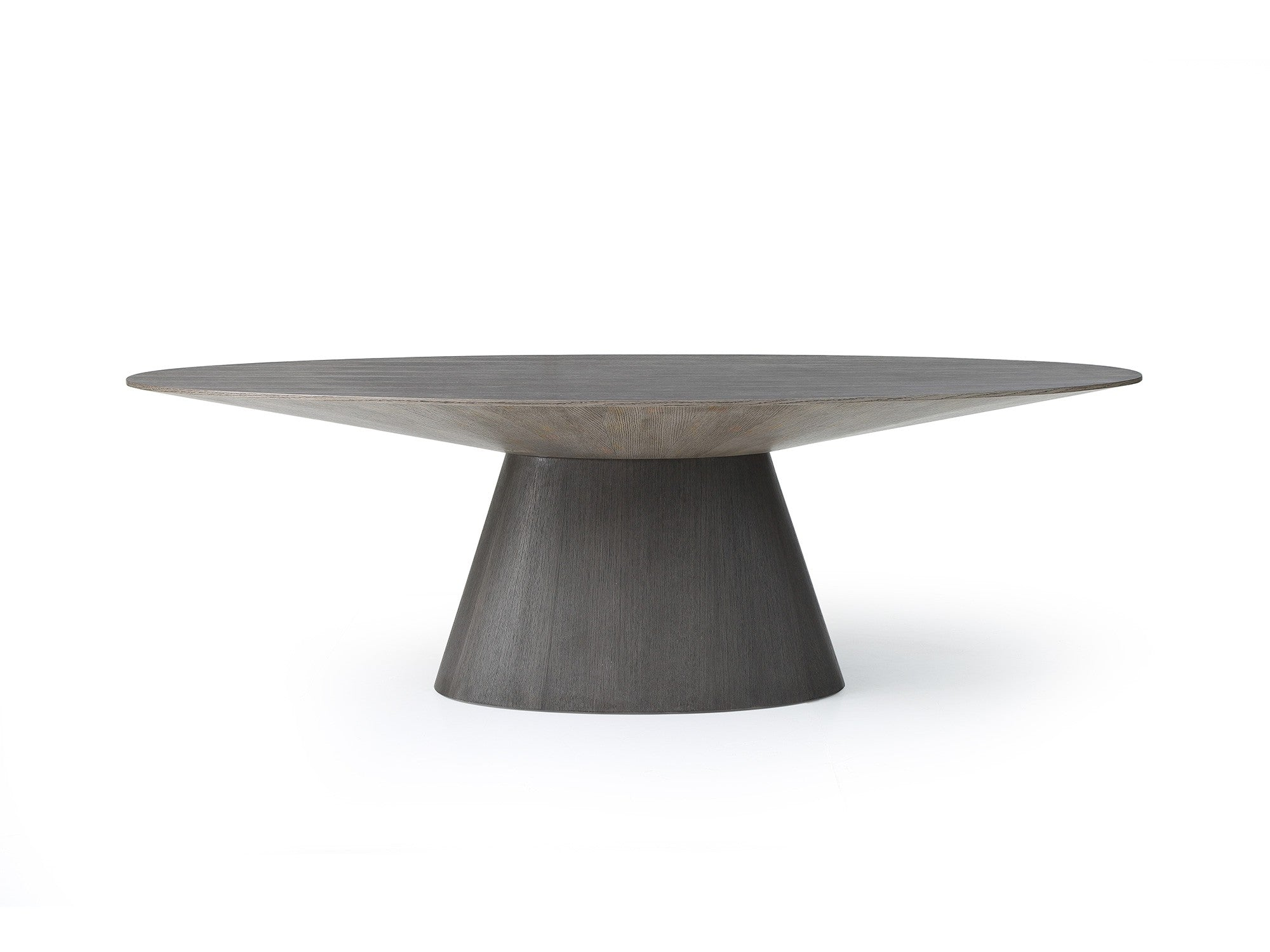 "Modern 95"" Oval Conference Table with Gray Oak Veneer Finish"