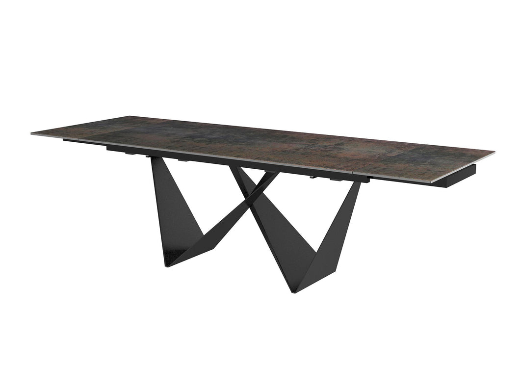 Modern Extending Black Conference Table with Ceramic Glass Top