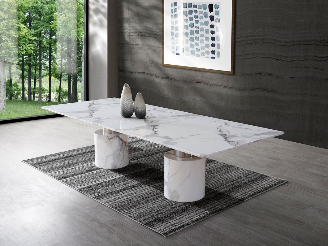 Modern 10-foot White Marble & Stainless Conference Table