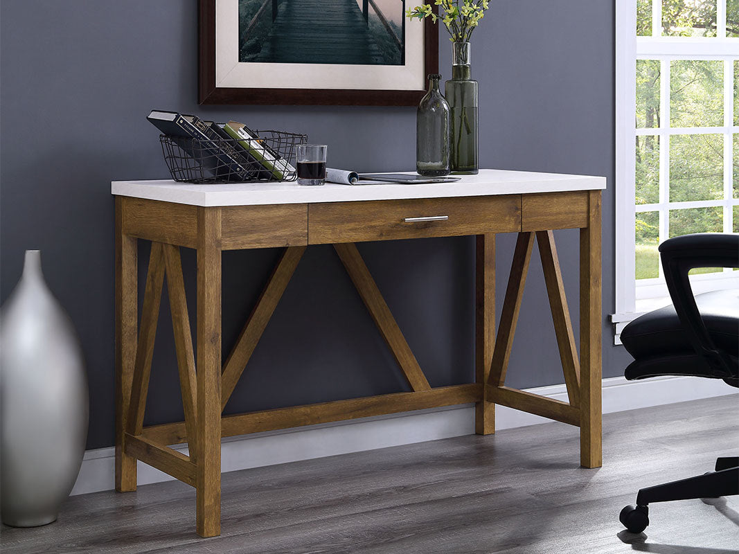 "46"" Natural Walnut & Marble Office Desk in Classic Farmhouse Style"