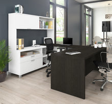Load image into Gallery viewer, Premium Modern U-shaped Desk with Hutch in White & Deep Gray