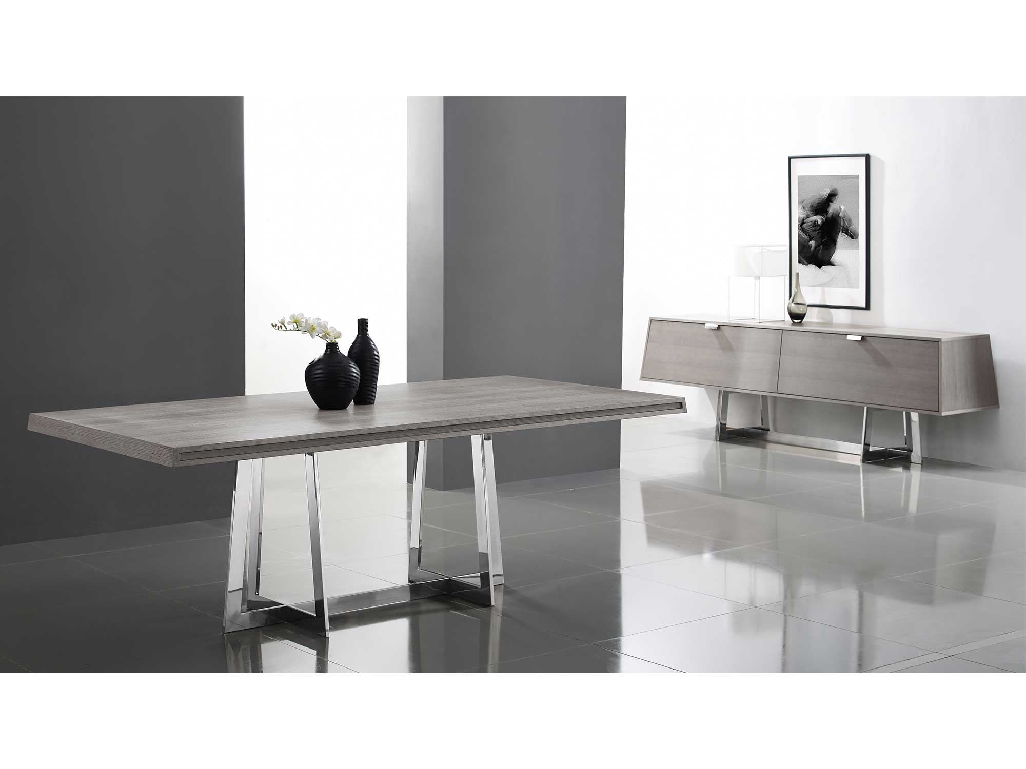 "Gray Oak 84"" Conference Table or Executive Desk with Stainless Steel Base"