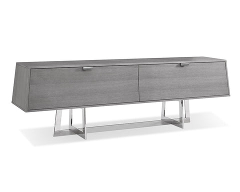"84"" Gray Storage Credenza with Polished Stainless Steel Base"
