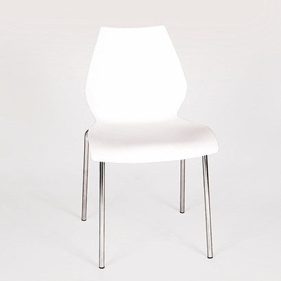 White & Chrome Polypropylene Guest or Conference Chair (SET OF 4)