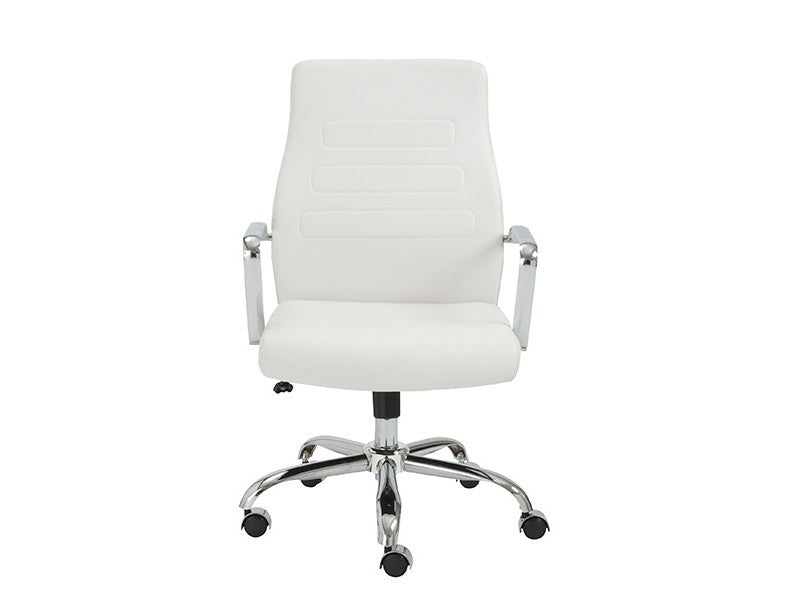 White Leather Mid-Back Office Chair with Chrome Base
