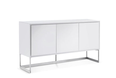 Modern Storage Credenza in High-Gloss White