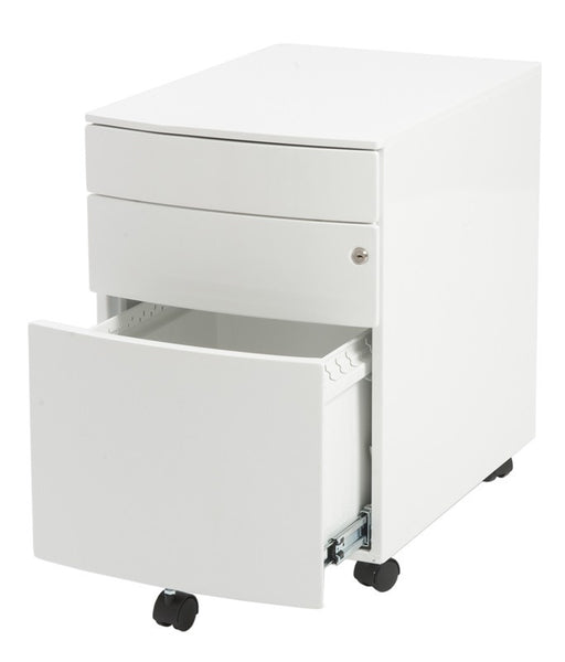 Modern Locking White File Cabinet On Premium Casters