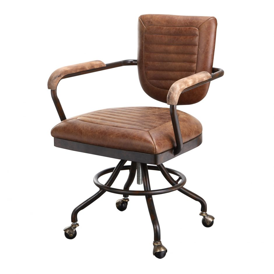 Wheeled Office Chair With Top Grain Leather Seat