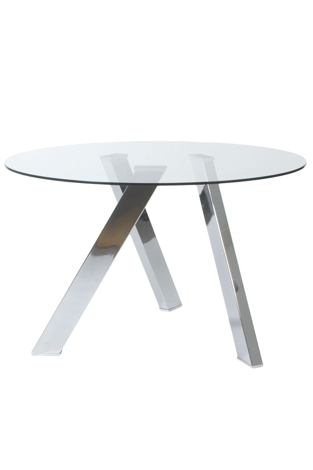 "Modern 47"" Glass & Stainless Steel Meeting Table"