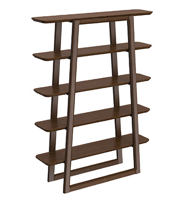 100% Solid Bamboo Bookcase in Black Walnut Finish