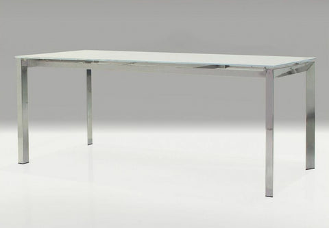 "Modern 51"" - 71"" Extending Executive Desk with White Glass Top & Stainless Steel Frame"