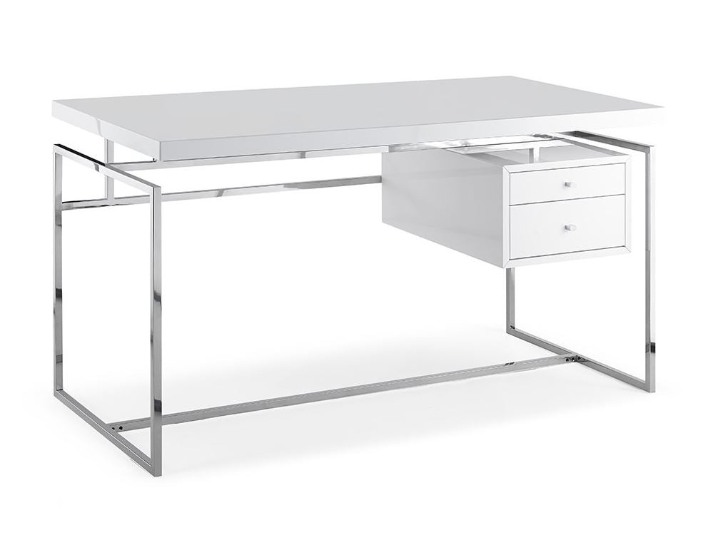 "55"" Two-Drawer Office Desk w/ White High-Gloss Top"