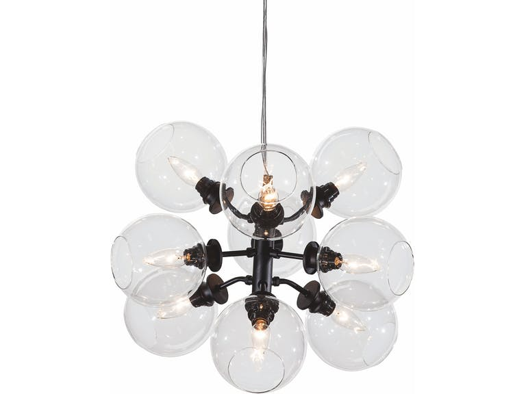 Cluster-Style Pendant Light in Clear Glass and Black Stainless Steel