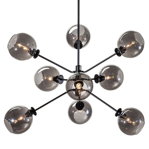 Contemporary Black Steel and Grey Glass Pendant Light