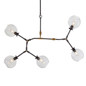 Clear Glass and Steel Pendant Light with Gold Accents