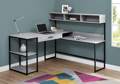 "Gray & Black Metal 59"" L-Shaped Corner Desk"