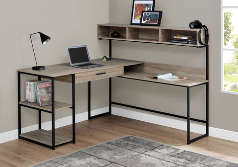 "Taupe & Black Metal 59"" L-Shaped Corner Desk"