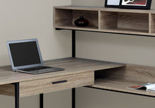 "Load image into Gallery viewer, Taupe & Black Metal 59"" L-Shaped Corner Desk"