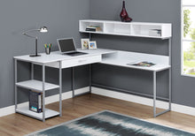 "Load image into Gallery viewer, White & Silver Metal 59"" L-Shaped Corner Desk"