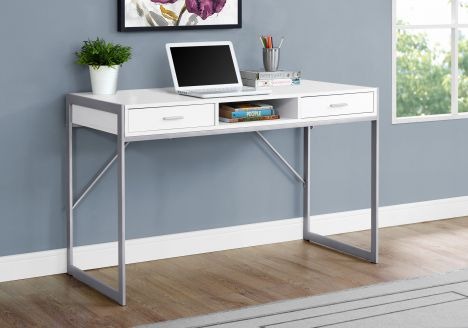 Compact White & Silver Desk w/ 2 Drawers