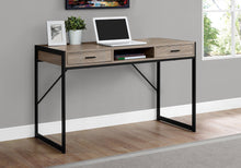Load image into Gallery viewer, Compact Taupe & Black Metal Computer Desk w/ 2 Drawers