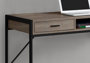 Compact Taupe & Black Metal Computer Desk w/ 2 Drawers